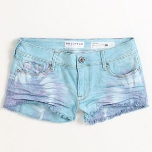 Bullhead Ice Cream Tie Dye Frayed Denim Shorts